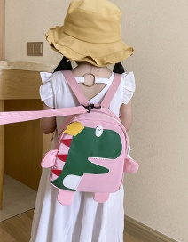 Fashion Pink Little Dinosaur Stitching Contrast Color Childrens Backpack