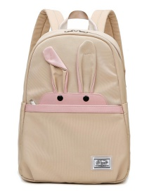 Fashion Beige Bunny Stitching Contrast Color Childrens Backpack