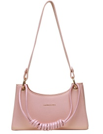Fashion Pink Woven Bronzing Letter Shoulder Bag