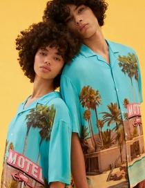 Fashion Blue Motel Leaf Print Shirt