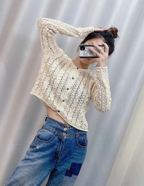 Fashion Beige Jacquard Mesh Cutout Knitted Jacket