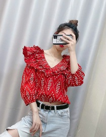 Fashion Red Cutout Embroidered Ruffled Short Top