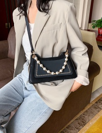 Fashion Black Contrast Contrast Pearl Chain Shoulder Bag
