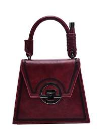 Fashion Red Wine Shoulder Crossbody Bag With Embroidery Thread Lock