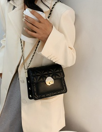 Fashion Black Chain Studded Rhombus Shoulder Bag