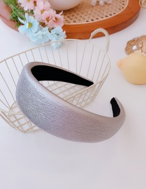 Fashion Silver Pu Leather Wide-brimmed Sponge Solid Color Headband