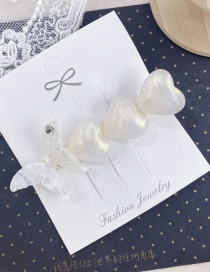 Fashion White Butterfly Pearl Diamond Hairline Hairpin