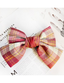 Fashion Bean Paste Plaid Fabric Butterfly Combined With Blonde Clip