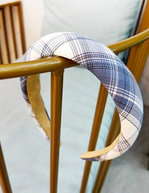 Fashion Gray Grid Checked Flat Sponge Printed Wide-brimmed Hair Band