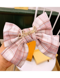 Fashion Pink Plaid Large Bow With Diamond Letter Hairpin