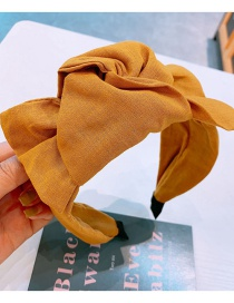 Fashion Yellow Large Bowknot Fabric Knotted Wide-brimmed Headband