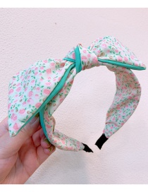 Fashion White Floral Small Floral Print Wide Edge Colorblock Bow Headband