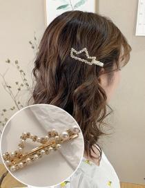Fashion Golden Diamond Pearl Crown Hollow Alloy Hair Clip