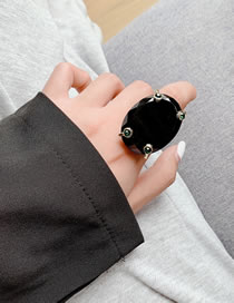 Fashion Black Faceted Gemstone Open Alloy Ring