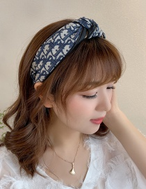 Fashion Blue Fabric Knotted Wide-brimmed Headband