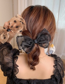 Fashion Black/buckle Clip Large Bowknot Mesh Yarn Wave Point Double-layer Hairpin Hair Rope