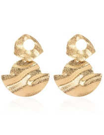 Fashion Golden Alloy Geometric Frosted Concave And Convex Earrings