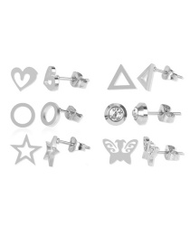 Fashion Silver Butterfly Five-pointed Star Diamond Heart Alloy Earring Set