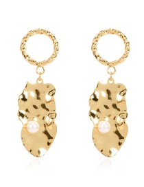 Fashion Golden Alloy Geometric Pearl Concave Convex Earrings