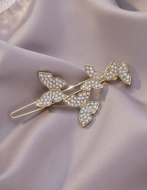 Fashion Golden Diamond Alloy Butterfly Hairpin Hairpin