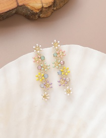 Fashion Yellow Diamond Drop Flower Alloy Earrings