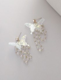 Fashion White Butterfly Crystal Beaded Tassel Sequin Earrings