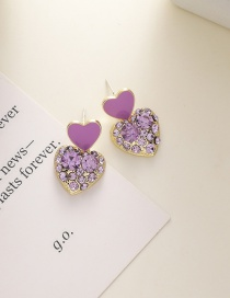 Fashion Love Section Diamond Dropping Alloy Love Heart Square Earrings