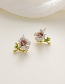 Fashion White Dropped Flower Contrast Alloy Earrings