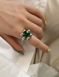 Fashion Green Emerald Sapphire Metal Ball Ring
