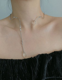 Fashion White (can Be Used As A Hair Band) Metal Crystal Diamond Wave Necklace