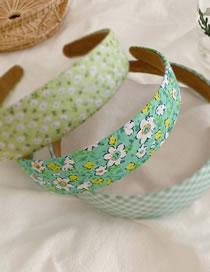Fashion Green Department-flowers Wide Side Wave Dot Lattice Floral Headband