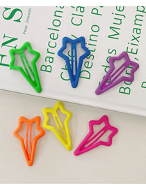 Fashion Fluorescent Stars-6 Pack Set Of 6 Fluorescent Hairpins