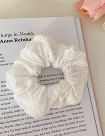 Fashion White Cotton Hollow Flower Solid Color Hair Tie