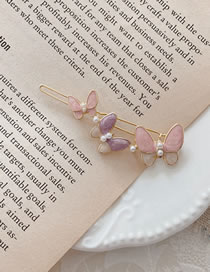 Fashion Pink Butterfly Oil Drop Hairpin