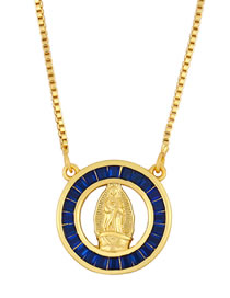 Fashion Blue Virgin Mary Pendant Necklace With Gold Plated Diamonds