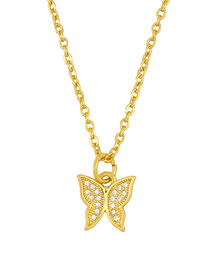 Fashion Butterfly Diamond-plated Butterfly Six-star Horned Cone Gold-plated Necklace