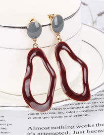 Fashion Red Dripping Hollow Color Matching Geometric Earrings