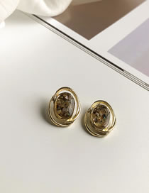 Fashion Color 1 Geometric Hollow Round Oil Drop Shell Earrings