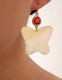Fashion White Butterfly Shell Alloy Diamond Earrings