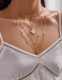 Fashion Gold Color Amulet And Diamond Five-pointed Star Multi-layer Necklace