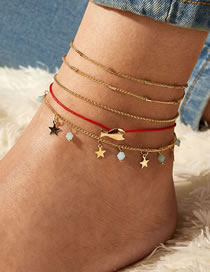 Fashion Gold Color Little Fish Five-pointed Star Anklet Set