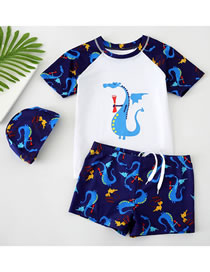 Fashion Little Flying Dragon White Dinosaur Print Contrast Color Childrens Swimwear Swimming Trunks Swimming Cap