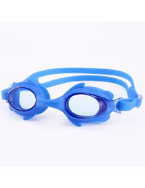 Fashion Blue Hd Anti-fog Five-pointed Star Printed Childrens Swimming Goggles