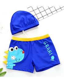 Fashion Blue Dinosaur Print Contrast Color Childrens Swimming Trunks And Swimming Cap