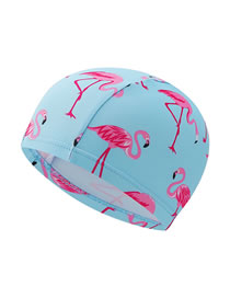 Fashion Flamingo Blue Hat Striped Contrast Color Stitching Flamingo Scallop Print Children Swimming Cap