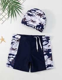 Fashion Camouflage Childrens Swimming Trunks And Caps