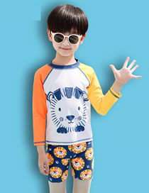 Fashion White Lion Stitching Contrast Childrens Long-sleeved Split Swimsuit
