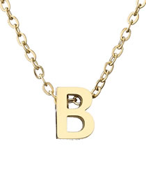 Fashion B-14k Gold Letter Hollow Titanium Steel Gold Plated Necklace