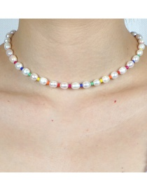 Fashion Color Mixing Natural Freshwater Pearl Contrast Rice Bead Necklace