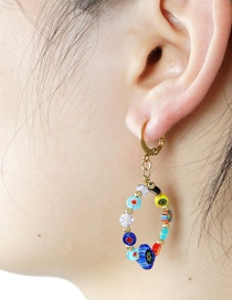 Fashion Color Mixing Colored Flower Bead Geometric Earrings